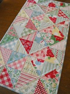 Runner from one Charm Pack- 4 x 8 set of half- square triangles Christmas table runner Charm Pack Quilts, Charm Quilt, Quilted Table Toppers, Quilted Table Runners, Small Quilts, Mini Quilts, Quilting Projects, Sewing Projects, Triangles