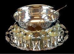 metal footed tea cups | Wallace Silver Plate Punch Bowl Set w/ Cups, Tray .' Wallace Silver, Punch Bowl Set, Thursday Night, Auction Items, Sugar Bowl, Silver Plate, Tea Cups, Porcelain, Pottery