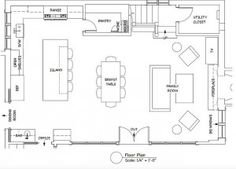 """Open Concept Kitchen Family Room Floor Plan. Kitchen Floor Plan. Kitchen Layout Ideas. Open Concept Kitchen Family Room Floor Plan. The room is 35'-8"""" long by 23'-5"""" deep. The kitchen portion is within that (12'-5"""" by 23'-5""""). #OpenConcept #Kitchen #FamilyRoom #FloorPlan Heydt Designs. Benjamin Dhong Interiors."""