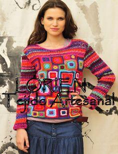 Sueter combinado crochet maquina.