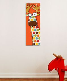 Cottage Kids Room....CUTE! Take a look at this Orange Polka Dot Reindeer Canvas by ADzif on #zulily today!