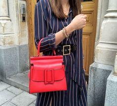 stripes dress, black max belt and a pop of red
