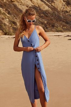 Slide View: 5: UO Amber Button-Down Linen Midi Dress -- $80