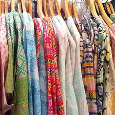A rack full of colorful prints at our Mother's Day shoot