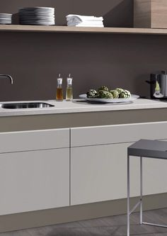 Simple grey, taupe kitchen. U-Install-It Kitchens, Adelaide's