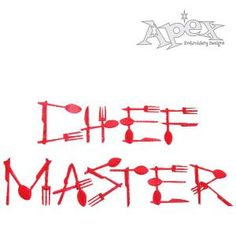 """Master Chef Embroidery Font. Fork, Knife and Spoon font set great for any cook or kitchen Size: .75"""" , 1"""" and 1.5"""""""