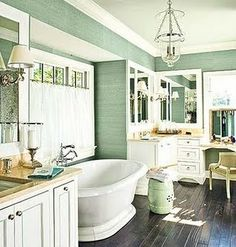 love everything about this bathroom.  The dark wood floors, the bright green, the layout, the stand alone tub, etc.