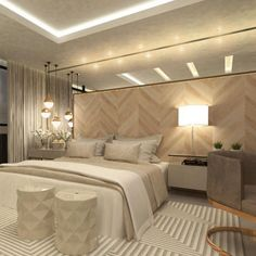 🌙 quarto maravilhoso by arquitetura Modern Bedroom, Master Bedroom, Bedroom Decor, Bedroom Furniture, Most Luxurious Hotels, Luxurious Bedrooms, Wood Wall Design, Suites, House Rooms