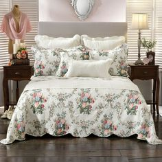 Rosedale Multi Square Filled Cushion - 43 x 43 cm. Bedspread Set Includes 1 x Bedspread. A Quilt Cover is also known as Duvet Cover or Comforter Cover. Kinley Cloud White Bed Runner - 40 x 220 cm. Chenille Quilt, Floral Bedspread, Super King Size Bed, Back To Home, Bed Runner, Comforter Cover, Cotton Bedding, White Bedding, Quilt Cover