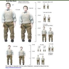 Printable Figures to Check Model, Dollhouse, Railroad and Miniature Scales: Reference Sheet of Figures in Popular Miniature and Model Scales