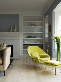 nice paint color - Benjamin Moore pigeon gray. love the chair too. chartreuse!