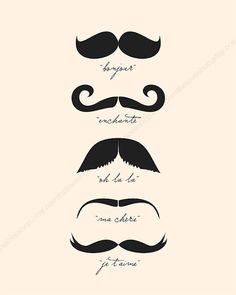 Monsieur Moustache sports fabulously French moustaches, each with its own French words below it that suit the style of each moustache. Moustaches, Moustache Party, French Words, French Quotes, Movember, Mon Cheri, Mo S, Statements, Dibujo