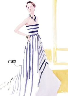 David Downton illustration of Michelle Dockery, Lady Mary Crawley of Downton Abbey. She wears an Oscar de la Renta striped gown in navy silk duchesse satin and ivory silk gazar, with Oscar de la Renta jewelry. From Vanity Fair.