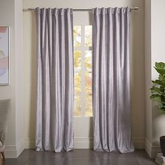 Luster Velvet Metallic Diamond Printed Curtain - Silver #westelm