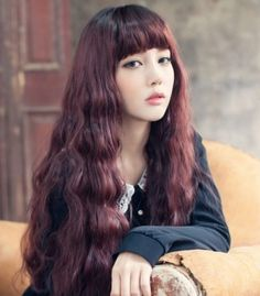 Long gorgeous hairstyle with bangs for Asian women
