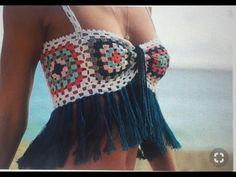 Transcendent Crochet a Solid Granny Square Ideas. Inconceivable Crochet a Solid Granny Square Ideas. Débardeurs Au Crochet, Bikini Crochet, Mode Crochet, Crochet Shirt, Crochet Crop Top, Crochet Woman, Crochet Granny, Crochet Style, Crochet Mandala