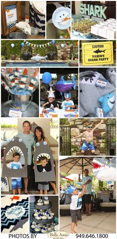 5 Year Old Shark Party, pool party