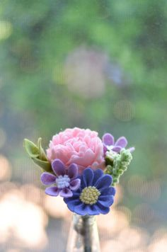 Felt Flower Bouquet / Peony Daisy & Wildflower / by LeaphBoutique More