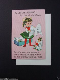 #E139- Vintage Unused Paper Cut Out Paper Doll Angel Xmas Greeting Card Sweet! | eBay