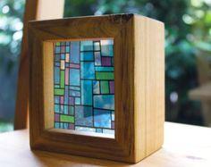 Modern Stained Glass Handmade Timber Light by WindowsofLightDesign