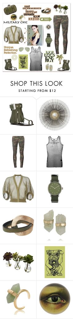 """""""Military chic"""" by zabead ❤ liked on Polyvore featuring Giuseppe Zanotti, Crate and Barrel, Faith Connexion, Ann Demeulemeester, Givenchy, Void, Melissa Joy Manning, Nearly Natural, John Derian and Ray-Ban"""