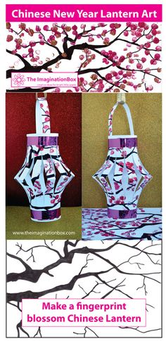 The ImaginationBox Chinese New Year simple lantern art - make a beautiful fingerprint blossom lantern with this free template.