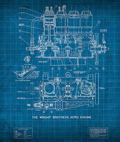 Wright Brothers Aero Engine Vintage Patent Blueprint Print By Design Turnpike