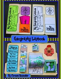 Geography Lapbook Interactive Kit from Chrissie Rissmiller on TeachersNotebook.com (30 pages)  - Geography Lapbook Interactive Kit- foldables to learn basic geography skills- landforms, compass rose, hemispheres, equator, prime meridian, latitude/longitudes, continents & oceans