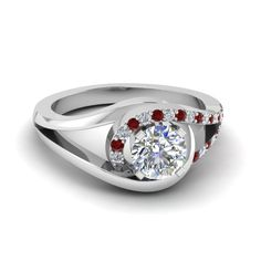 Round Cut Swirl Split Shank  Diamond Engagement Ring For Women with Red Ruby in 950 Platinum exclusively styled by  Fascinating Diamonds