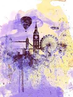 Naxart 'London Watercolor Skyline' Painting Print on Wrapped Canvas Size: Painting Prints, Art Prints, Canvas Wall Art, Canvas Prints, Skyline Art, Skyline Painting, Art Moderne, London Art, Illustration