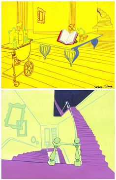 """Background drawings from the animated feature """"Broomstick Bunny"""" directed by Chuck Jones and """"starring"""" Bugs Bunny and Witch Hazel. The film was released in 1956. From the Smithsonian traveling exhibition """"What's Up, Doc? The Animation Art of Chuck Jones."""" Ernie Nordli (designer), Philip DeGuard (painter). Courtesy Chuck Jones Center for Creativity. http://www.sites.si.edu/chuckjones/ #chuckjones #bugsbunny"""