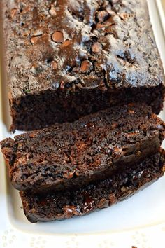 Delicious, extra fudgy, best ever Double Chocolate Zucchini Bread. Recipe makes two freezer friendly loaves of zucchini bread! Zuchinni Bread, Chocolate Zucchini Bread, Zucchini Bread Recipes, Zucchini Banana Bread, Best Dessert Recipes, No Bake Desserts, Pastry Recipes, Cookie Recipes, All You Need Is