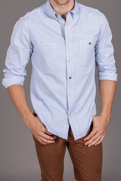 White Picket Fence Hillcrest L/S Chambray Shirt