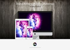Girl lights effects in photoshop by Hélio Pedrosa, via Behance