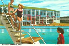 Twenty Brilliant John Hinde Postcards of the Barry Island Butlins - Flashbak Butlins Holidays, British Holidays, British Family, Seaside Theme, Holiday Day, Seaside Resort, Heated Pool, My Childhood Memories, Camping Life