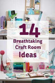 14 Breathtaking Craft Room Ideas #craftroom #craftspace
