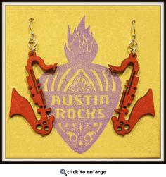 lightweight wooden sax earrings