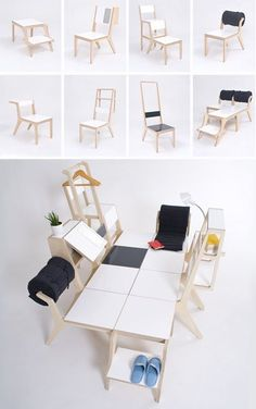 don't want this but thought Matty would appreciate the mad scientist-ness of this Multi-Purpose Chairs Have 2 Modes & Combine into a Bed) Multipurpose Furniture, Multifunctional Furniture, Smart Furniture, Modular Furniture, Space Saving Furniture, Furniture Stores, Furniture Cleaning, Chair Design, Furniture Design