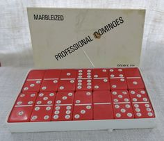 Marbleized Professional Dominoes Double Six Twenty Eight Red Dominoes Underside of Dominoes are solid red blank Plastech Industries Company Dinner Party Games, Fort Worth Texas, The Twenties, Red, How To Make, Etsy, Gift Ideas, Vintage, Vintage Comics