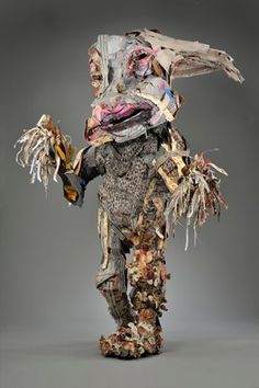 Elisabeth Higgins O'Connor, Wonderful Large scale creatures made of cardboard, fabric wood and other mad materials. Andy Warhol, Puppet Costume, Textiles, Pop Art, Mannequin Art, Textile Fiber Art, Recycled Art, Wire Art, Fabric Art