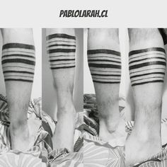 Black lines tattoo. Geometrical. In a man legs. Black and White versions of the pic.