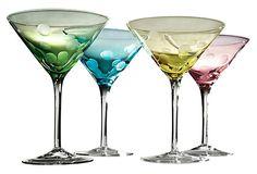 Set of 4 Polka Dot Martini Glasses  ARTLAND    $25.00