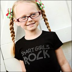 YES THEY DO!!! Smart Girls Rock Rhinestone Tee Shirt-Smart Girls Rock Rhinestone Tee Shirt,girls bling tee,kids clothing,back to school