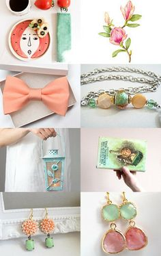 Thinking of Summer by Marysue on Etsy-- Beautiful peaches and greens!