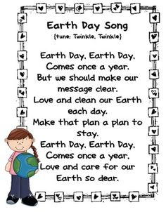 Earth Here's a set of poems and songs for Earth Day.: - Teach students Earth friendly concepts through catchy poems and songs. Earth Day Poems, Earth Day Song, Miss Kindergarten, Kindergarten Science, Preschool Songs, Kids Songs, Preschool Planner, April Preschool, Camp Songs