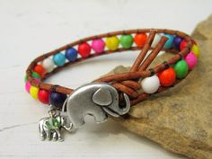 Elephant Button Colorful Beaded Wrap Bracelet by AnnieExpressions