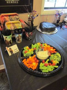 Star Wars themed food for birthday party cookout. Food label says 'Vader Veggies' in a Star Wars font with a Lego Darth Vader sticker for detail. Star Wars Themed Food, Birthday Parties, 8th Birthday, Birthday Ideas, Star Wars Party Decorations, Star Wars Font, Holiday Fun, Holiday Ideas, Star Wars Birthday