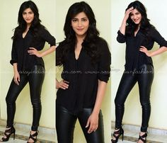 How to Style Black Leather Pants, How To Style Black Leggings, Shruti Hassan in Black Leather Pants and Shirt.