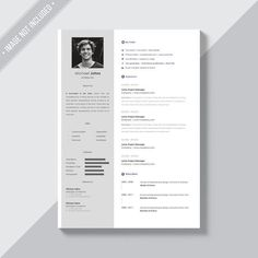 White cv template with silver details Free Psd Mock Up, Cover Letter Template, Cv Template, Microsoft Word, Beau Cv, Cv Curriculum, Nursing Resume Template, Resume Cv, Creative Resume Templates