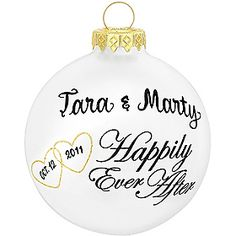 Personalized Happily Ever After Glass Ornament - 1141239 - $9.99